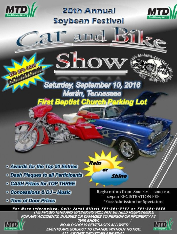 20th Annual Soybean Festival Car and Bike Show @ First Baptist Church Parking Lot | Martin | Tennessee | United States